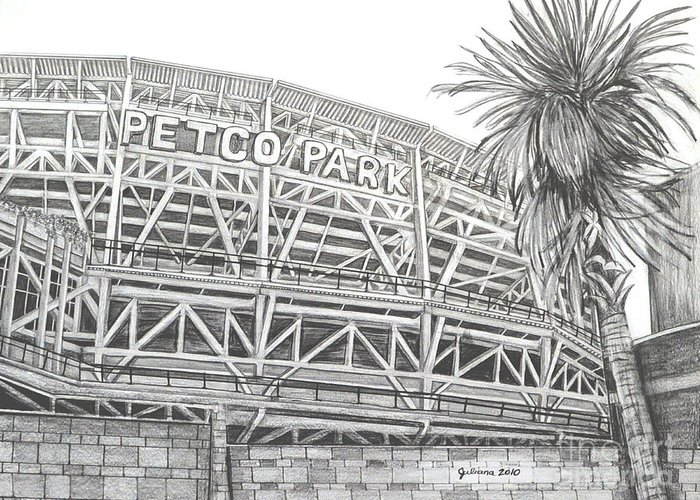 Petco Park Greeting Card featuring the drawing Petco Park by Juliana Dube