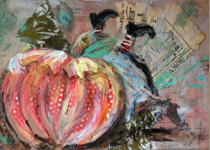 Peter Peter Pumpkin Eater Greeting Card featuring the mixed media Peter Peter by Jennifer Kelly