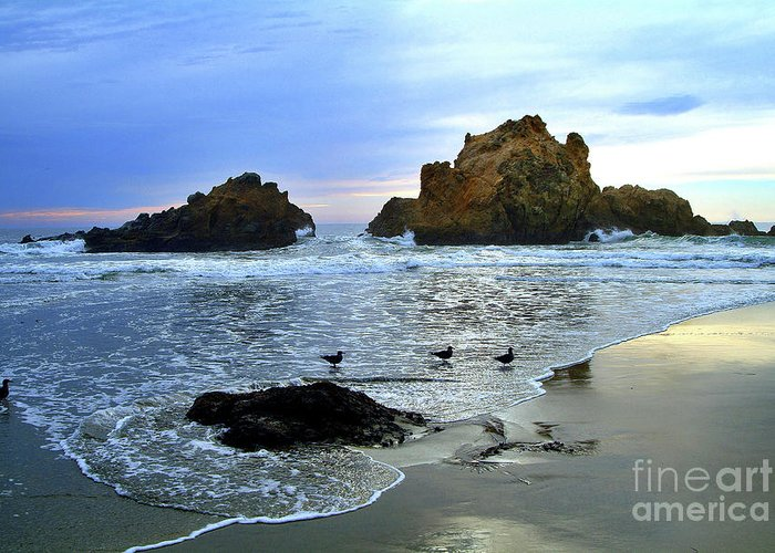 Big Sur Greeting Card featuring the photograph Pfeiffer Beach Evening - Big Sur by Charlene Mitchell
