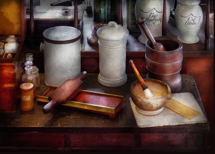 Suburbanscenes Greeting Card featuring the photograph Pharmacist - Equipment For Making Pills by Mike Savad