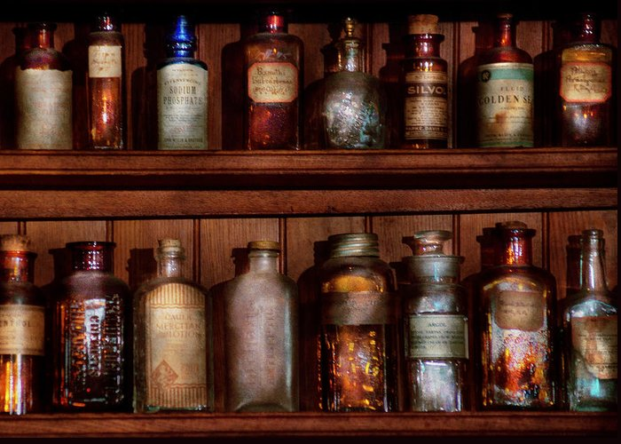 Savad Greeting Card featuring the photograph Pharmacy - Caution Don't Mix Together by Mike Savad