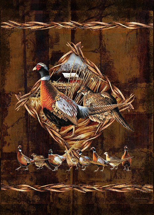 Wildlife Greeting Card featuring the painting Pheasant Lodge by JQ Licensing