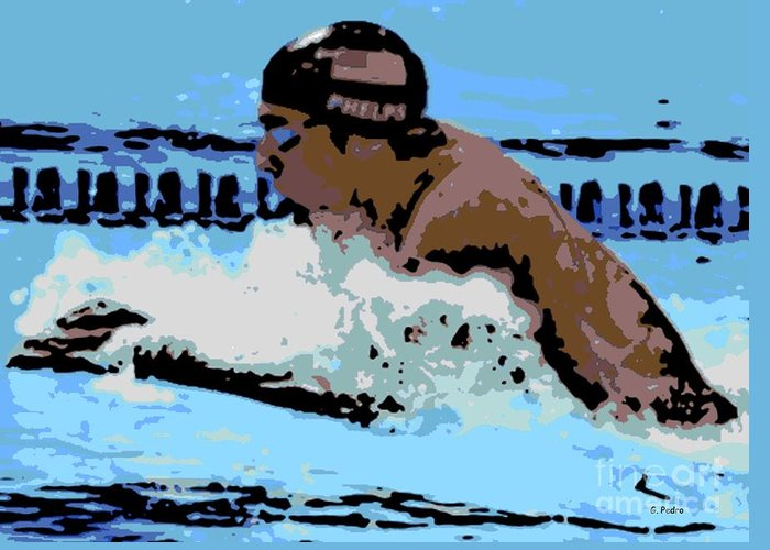 Michael Phelps Greeting Card featuring the photograph Phelps 2 by George Pedro
