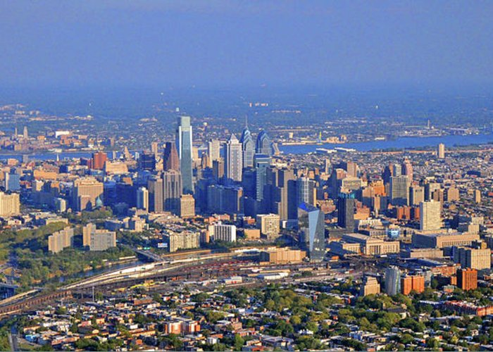 Philadelphia Greeting Card featuring the photograph Philadelphia Aerial by Duncan Pearson