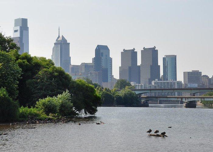 Philadelphia Along The Schuylkill River Greeting Card featuring the photograph Philadelphia Along The Schuylkill River by Bill Cannon