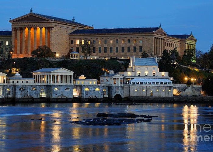 Philadelphia Greeting Card featuring the photograph Philadelphia Art Museum And Fairmount Water Works by Gary Whitton
