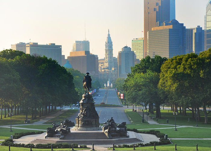 Philadelphia Greeting Card featuring the photograph Philadelphia Benjamin Franklin Parkway by Bill Cannon