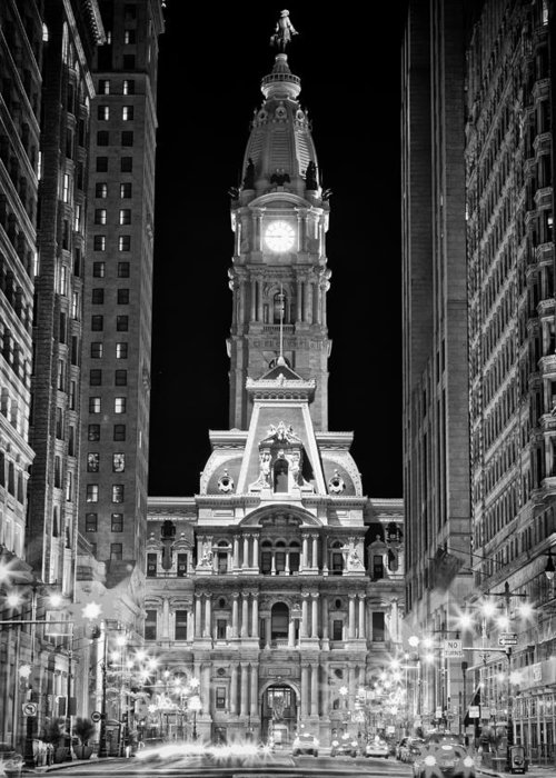 Us Greeting Card featuring the photograph Philadelphia City Hall At Night by Val Black Russian Tourchin