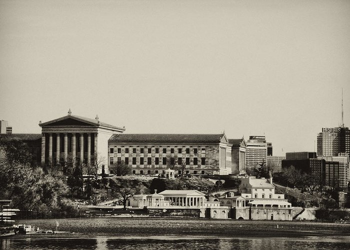 Philadelphia Greeting Card featuring the photograph Philadelphia Museum Of Art And The Fairmount Waterworks From West River Drive In Black And White by Bill Cannon
