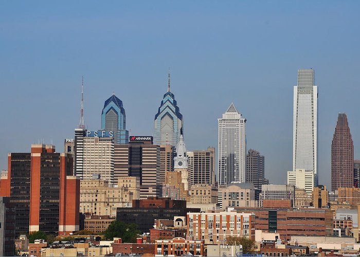 Philadelphia Standing Tall Greeting Card featuring the photograph Philadelphia Standing Tall by Simon Wolter
