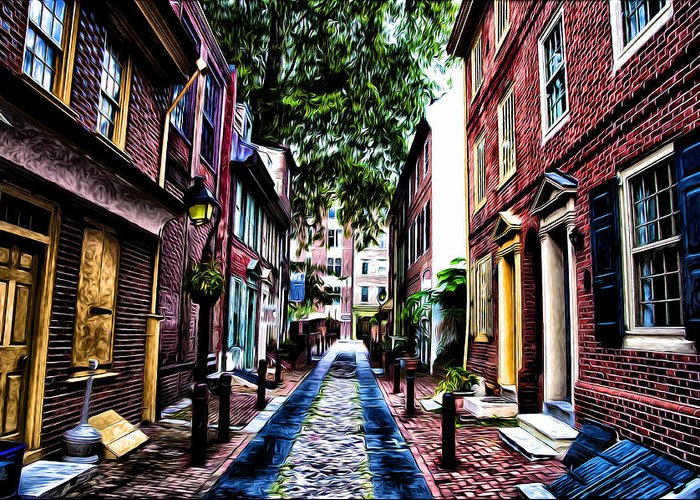 Philadelphia's Elfreth's Alley Greeting Card featuring the photograph Philadelphia's Elfreth's Alley by Bill Cannon