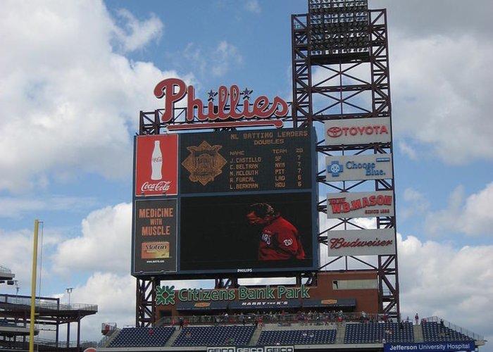Citizens Bank Park Greeting Card featuring the photograph Phillies by Jennifer Sweet