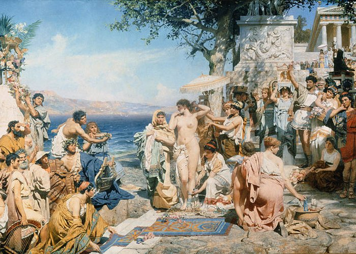 Phryne At The Festival Of Poseidon In Eleusin (oil On Canvas) By Henryk Siemieradzki (1843-1902) Greeting Card featuring the painting Phryne At The Festival Of Poseidon In Eleusin by Henryk Siemieradzki