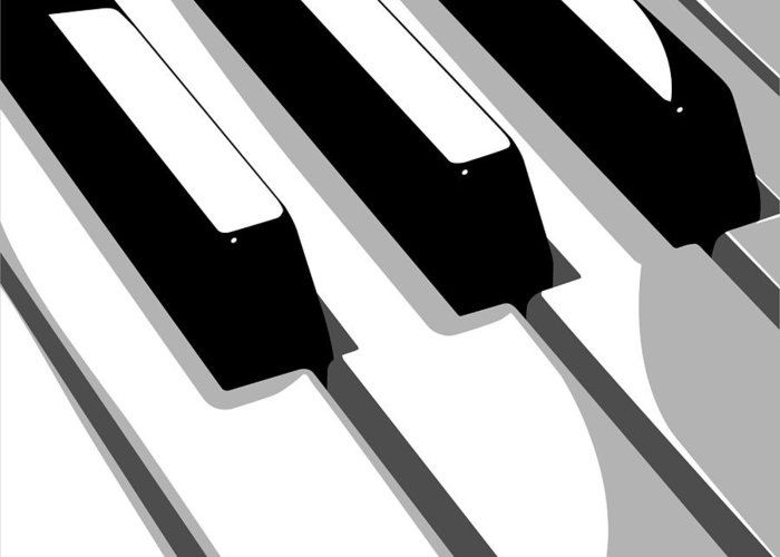 Piano Greeting Card featuring the digital art Piano Keyboard by Michael Tompsett