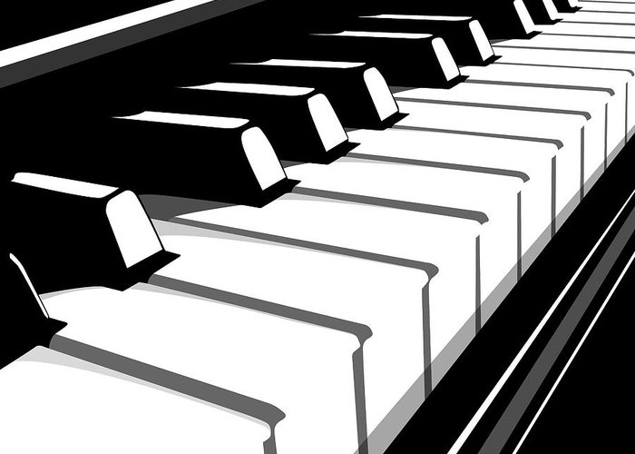 Piano Greeting Card featuring the digital art Piano Keyboard No2 by Michael Tompsett