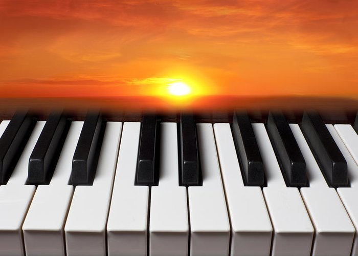 Piano Keys Greeting Card featuring the photograph Piano Sunset by Garry Gay