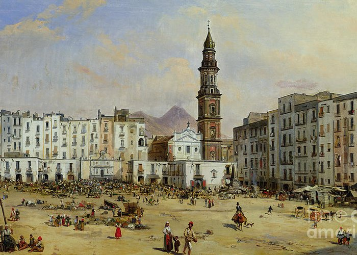 Piazza Greeting Card featuring the painting Piazza Mazaniello In Naples by Jean Auguste Bard