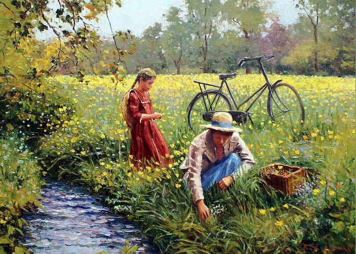 Little Girl Greeting Card featuring the painting Picking Yellow Flowers by Roelof Rossouw