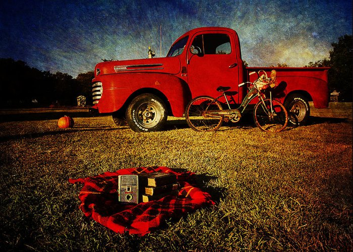 Red Ford Trucks Greeting Card featuring the photograph Picnic Time 2 by Toni Hopper