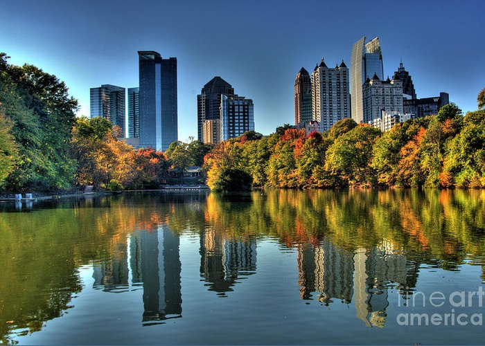 Piedmont Park Atlanta City View Greeting Card featuring the photograph Piedmont Park Atlanta City View by Corky Willis Atlanta Photography