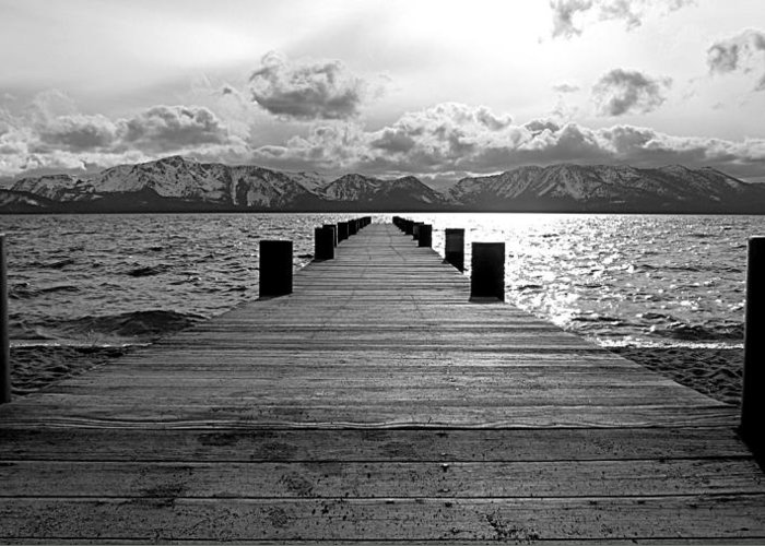 Mount Tallac Greeting Card featuring the photograph Pier To Mount Tallac Lake Tahoe by Brad Scott