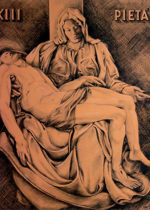 Pieta Greeting Card featuring the drawing Pieta Study by Hanne Lore Koehler