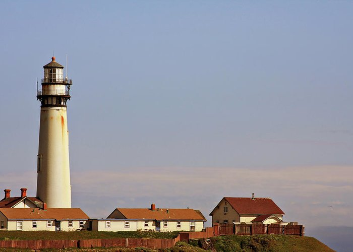 Pigeon Point Lighthouse Greeting Card featuring the photograph Pigeon Point Lighthouse On California's Pacific Coast by Christine Till