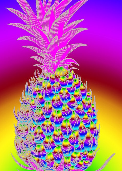 Pineapple Greeting Card featuring the digital art Pineapple by Eric Edelman