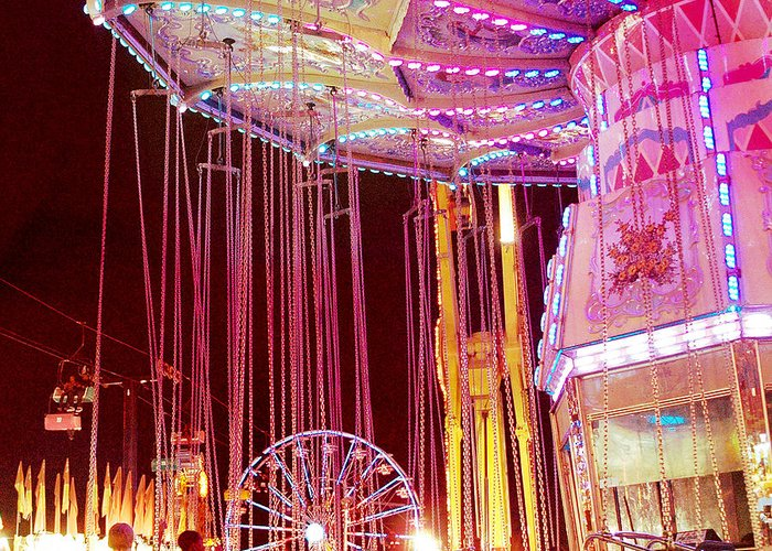 Hot Pink Ferris Wheel Photos Greeting Card featuring the photograph Pink Carnival Festival Ferris Wheel Night Ride by Kathy Fornal