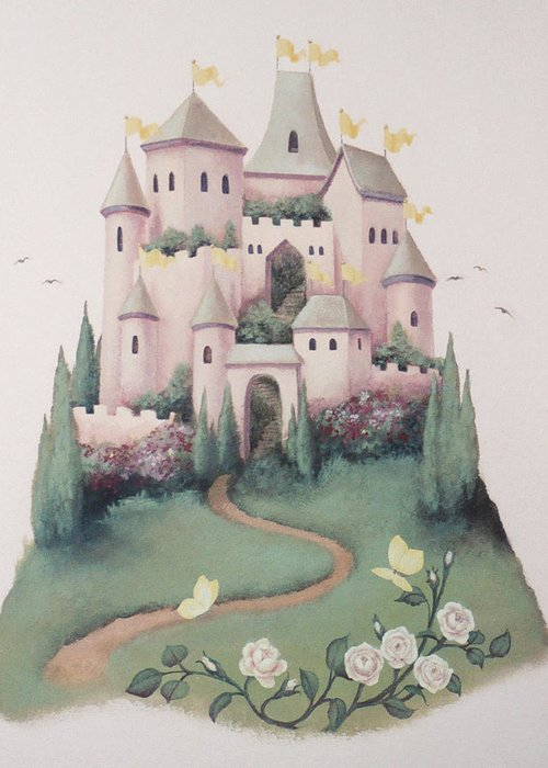 Castle Greeting Card featuring the painting Pink Castle by Suzn Smith