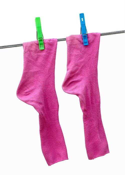 Pink Greeting Card featuring the photograph Pink Socks by Frank Tschakert