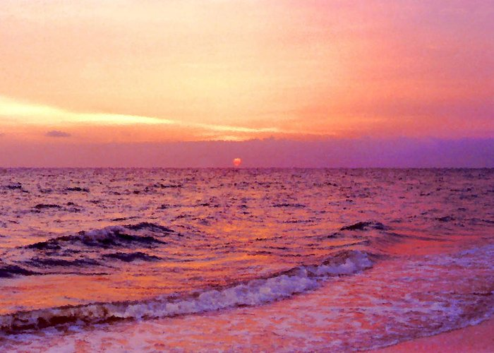 Ocean Greeting Card featuring the digital art Pink Sunrise by Kristin Elmquist