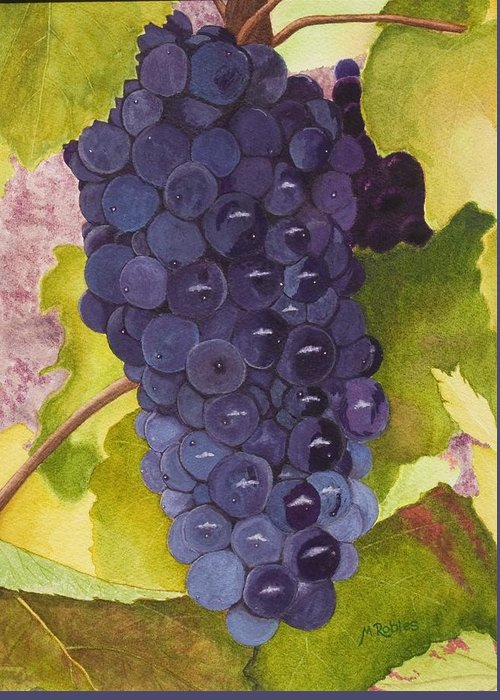 Grapes Greeting Card featuring the painting Pinot Noir Ready For Harvest by Mike Robles