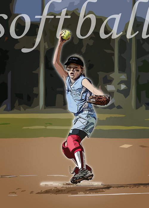 Softball Greeting Card featuring the photograph Pitcher by Kelley King