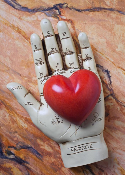 Palm Reader Hand Greeting Card featuring the photograph Plam Reader Hand Holding Red Stone Heart by Garry Gay