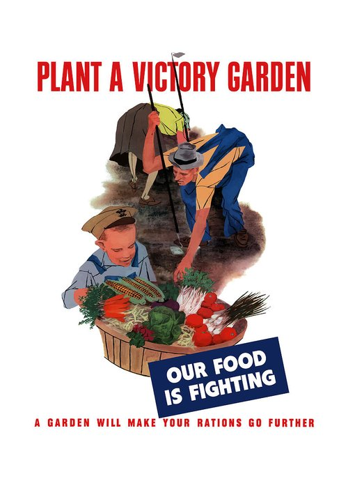 World War Ii Greeting Card featuring the painting Plant A Victory Garden by War Is Hell Store