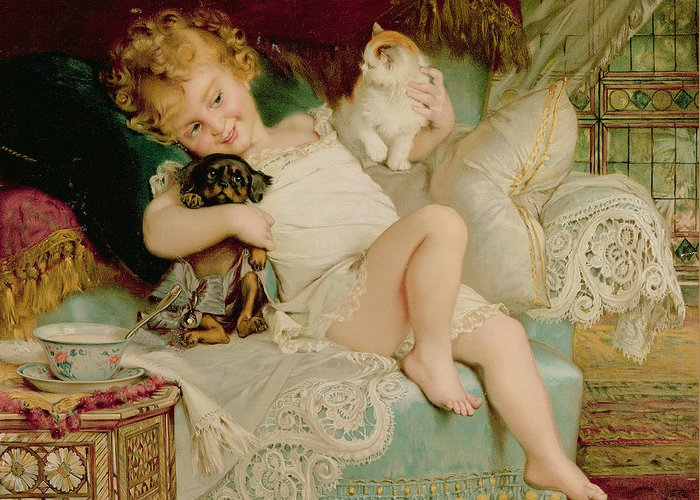 Playmates Greeting Card featuring the painting Playmates by Emile Munier