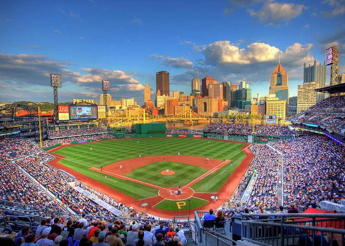 Pnc Park Greeting Card featuring the photograph Pnc Park by Shawn Everhart
