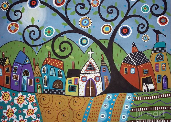 Church Greeting Card featuring the painting Polkadot Church by Karla Gerard
