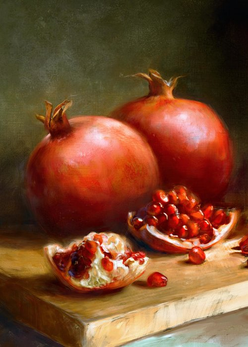 Pomegranates Greeting Card featuring the painting Pomegranates by Robert Papp