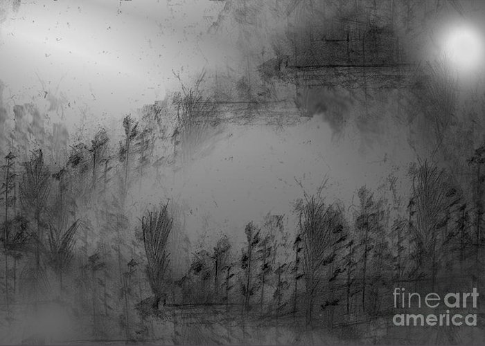 Pond Greeting Card featuring the drawing Pond By Moonlight by John Krakora