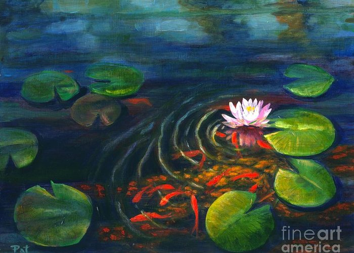 Waterscape Greeting Card featuring the painting Pond Jewels by Pat Burns