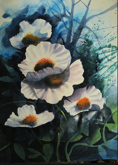 Floral Greeting Card featuring the painting Poppies by Robert Carver