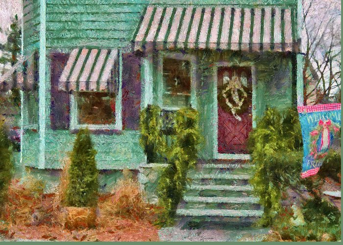 Savad Greeting Card featuring the photograph Porch - Westfield Nj - Welcome Friends by Mike Savad