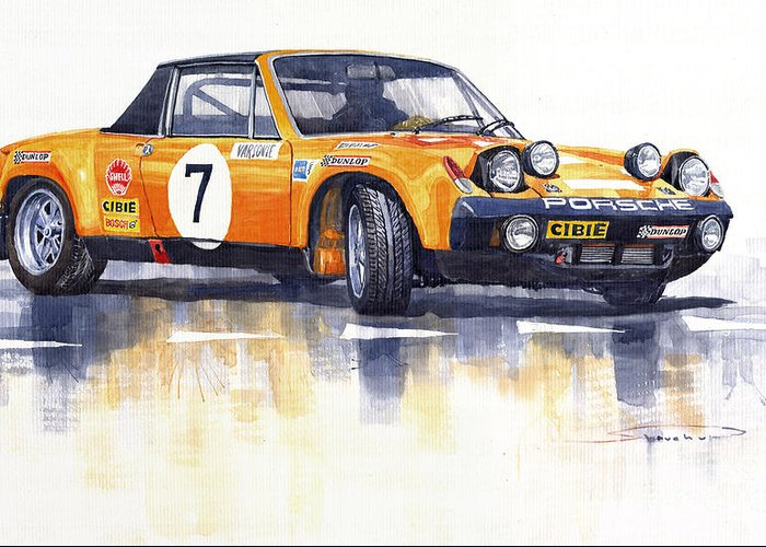 Watercolour Greeting Card featuring the painting Porsche 914-6 Gt Rally by Yuriy Shevchuk