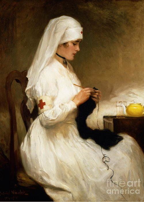 Portrait Greeting Card featuring the painting Portrait Of A Nurse From The Red Cross by Gabriel Emile Niscolet