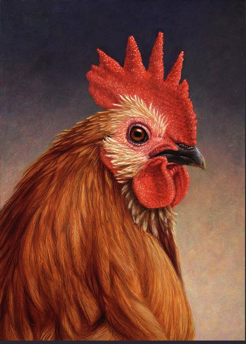 Rooster Greeting Card featuring the painting Portrait Of A Rooster by James W Johnson