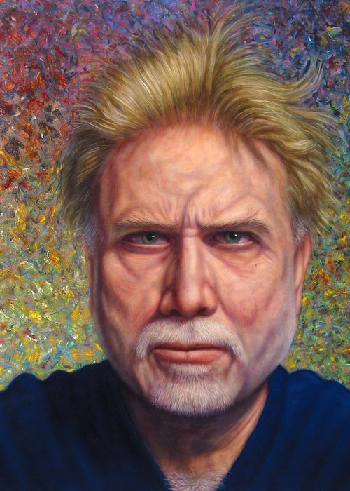 Self-portrait Greeting Card featuring the painting Portrait Of A Serious Artist by James W Johnson
