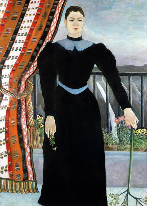 Portrait Greeting Card featuring the painting Portrait Of A Woman by Henri Rousseau