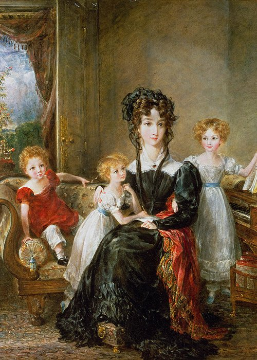 Portrait Greeting Card featuring the painting Portrait Of Elizabeth Lea And Her Children by John Constable